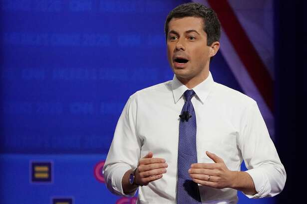 LOS ANGELES, CALIFORNIA - OCTOBER 10: Democratic presidential candidate, South Bend, Indiana Mayor Pete Buttigieg speaks at the Human Rights Campaign Foundation and CNNs presidential town hall focused on LGBTQ issues on October 10, 2019 in Los Angeles, California. It is the first Presidential event broadcast on a major news network focused on LGBTQ issues. (Photo by Mario Tama/Getty Images)