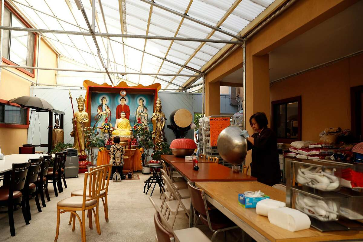 Dining area at Chua Giac Minh temple in East Palo Alto, Calif., on Sunday, October 6, 2019.