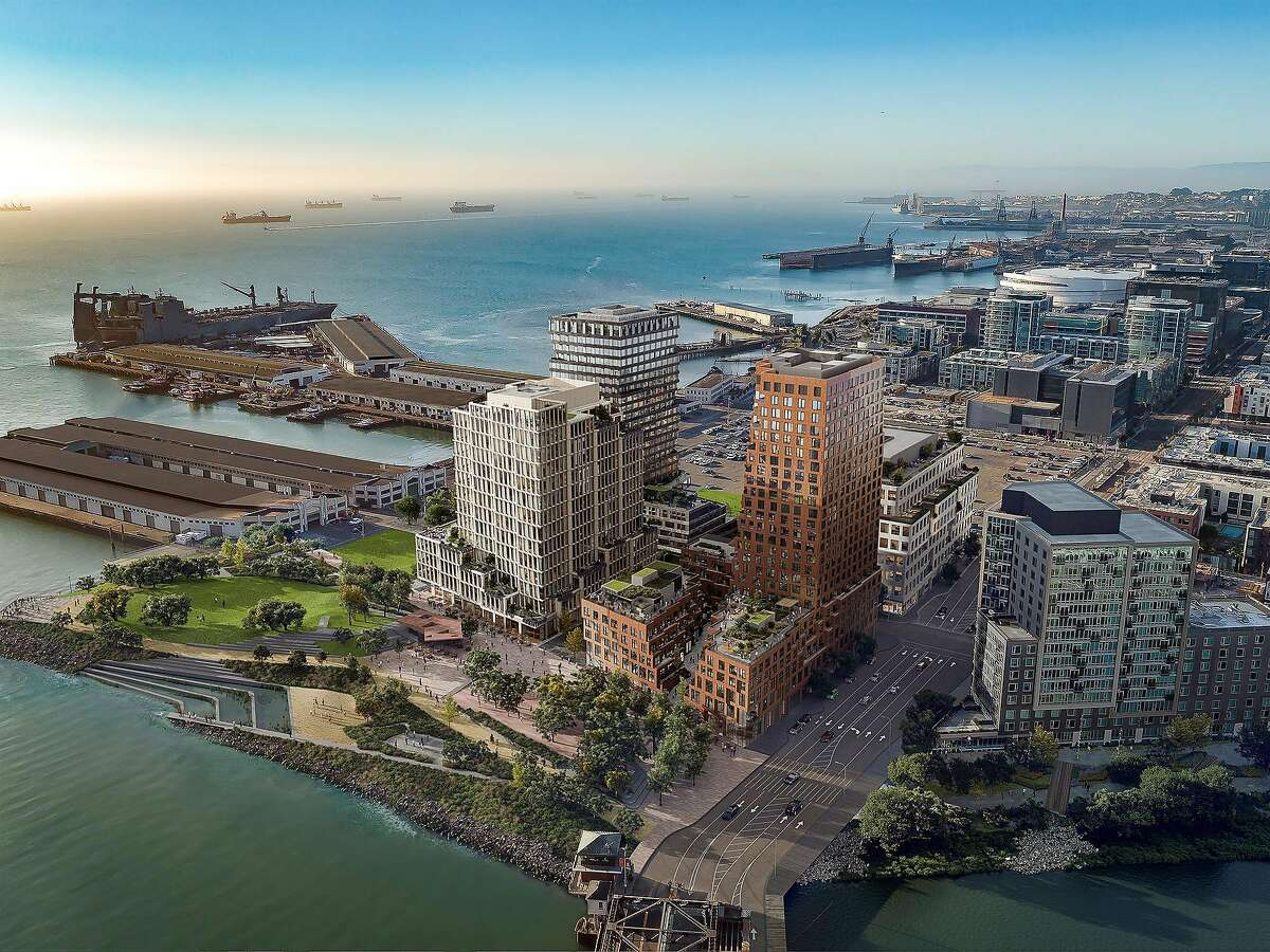A rendering of waterfront park and quartet of office and residential buildings that will form the initial phase of the Mission Rock mega-project that will begin construction in 2020 and is being developed by Tishman Speyer and the San Francisco Giants baseball team. This view is looking south: to the west is the Mission Bay district and to the north is the Giants' ballpark.
