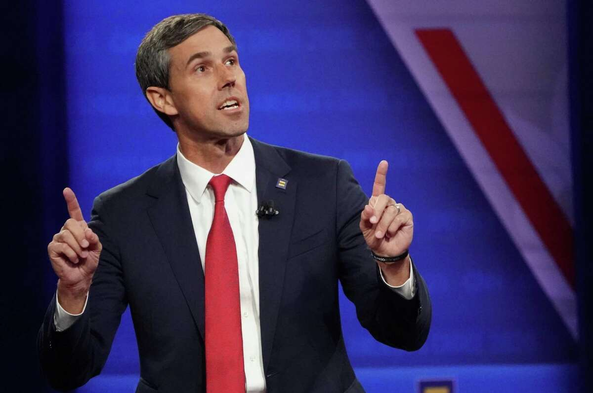 Under a housing proposal rolled out by Democratic presidential contender Beto O'Rourke, the U.S. Postal Service would offer checking and savings accounts that would pay interest, charge no fees and require no minimum account balances. O'Rourke is shown at a Human Rights Campaign Foundation and CNN presidential town hall on Oct. 10, 2019 in Los Angeles.