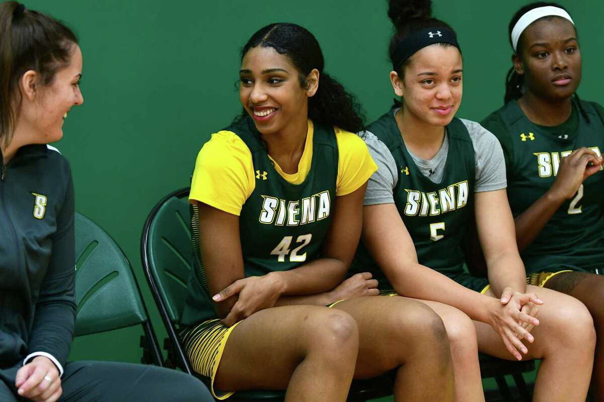 Siena senior forward Sabrina Piper, second from left, is seen during media day for the Siena women's basketball team on Friday, Oct. 11, 2019 in Loudonville, N.Y. (Lori Van Buren/Times Union)