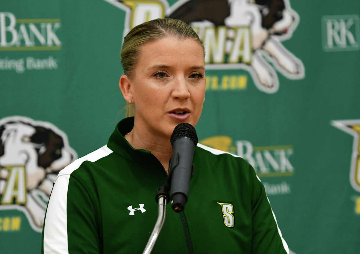 Head coach Ali Jaques speaks during media day for the Siena women's basketball team on Friday, Oct. 11, 2019 in Loudonville, N.Y. (Lori Van Buren/Times Union)