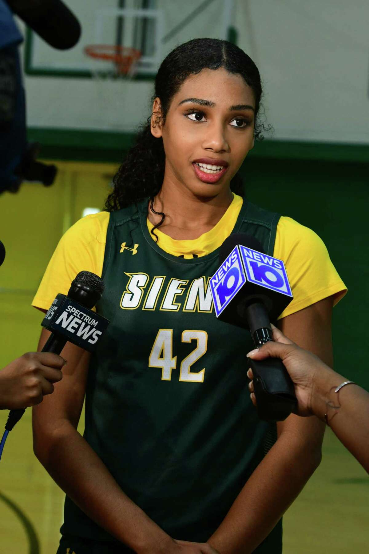 Siena senior forward Sabrina Piper is interviewed during media day for the Siena women's basketball team on Friday, Oct. 11, 2019 in Loudonville, N.Y. (Lori Van Buren/Times Union)