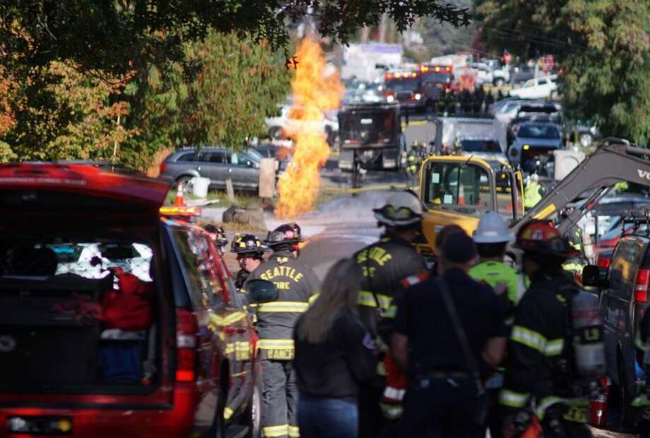 A fire at a gas leak in North Seattle Photo: Courtesy KOMO News