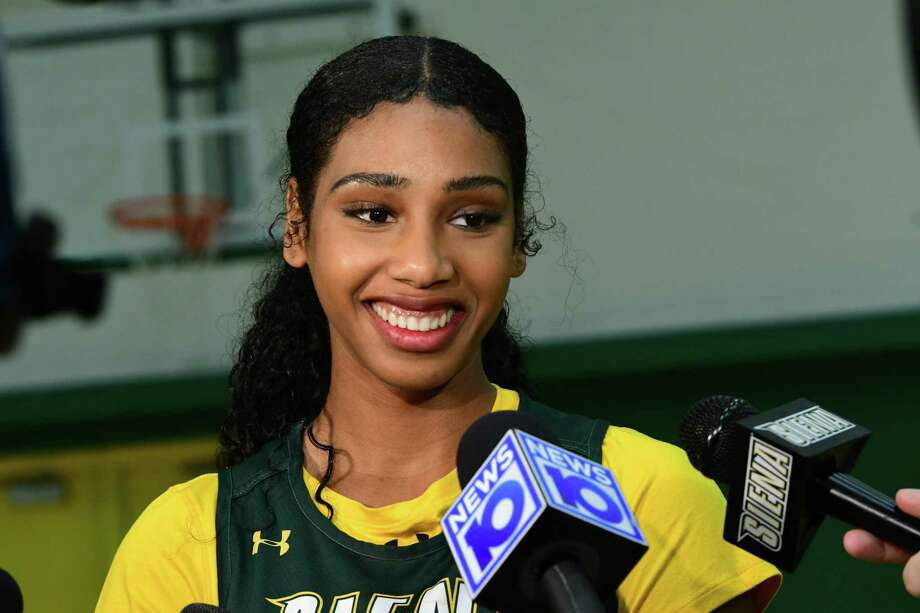 Siena senior forward Sabrina Piper is interviewed during media day for the Siena women's basketball team on Friday, Oct. 11, 2019 in Loudonville, N.Y. (Lori Van Buren/Times Union) Photo: Lori Van Buren, Albany Times Union / 20047986A