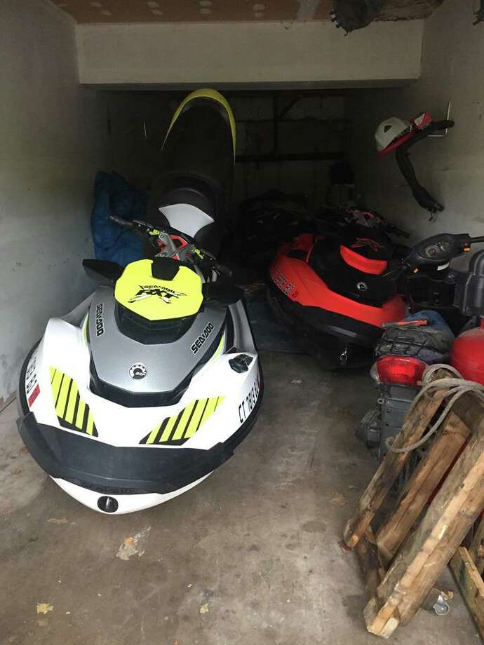 Newtown detectives recovered two personal watercrafts stolen from a Lake Zoar dock earlier this week at an undisclosed location in Waterbury. Photo: Newtown Police Department
