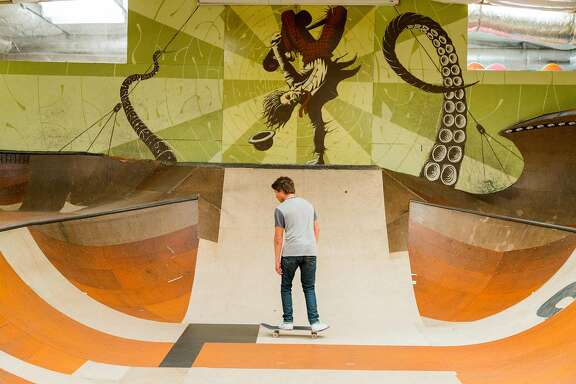 Luca Osborn, 18, skates the mini ramp at Proof Lab in Mill Valley, Calif., Wednesday May 20, 2015. The compound boasts a full surf and skate shop, skate park, gallery and Equator coffee bar.