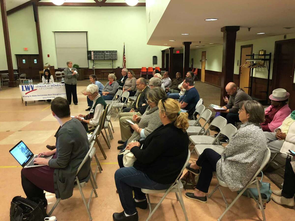 About 40 people attended a forum for Board of Education candidates at the Baldwin Center in Stratford Oct. 10, 2019
