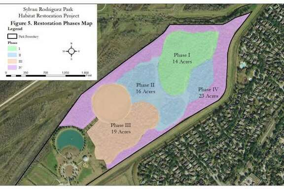 A master plan for Sylvan Rodriguez Park will restore 72 acres of coastal prairie and forest ecosystem in the 113-acre park through four phases through 2021.