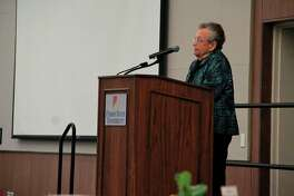 Guest speaker Isabel Kempton took the stage during the MCCF luncheon and spoke to the audience about the importance of giving, whether the deed be big or small. (Pioneer photo/Alicia Jaimes)