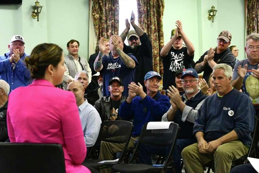 U.S. Rep. Elise Stefanik speaks during a town hall event at the Kingsbury Fire House on Friday, Oct. 11, 2019 in Kingsbury, N.Y. (Lori Van Buren/Times Union)