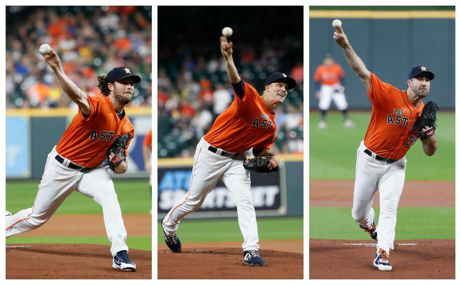 PHOTOS: ALDS Game 5 - Astros vs. Rays  Houston Astros pitchers, from left, Gerrit Cole, Zack Greinke and Justin Verlander. >>>Look back at the Astros' ALDS-clinching win over the Rays on Thursday night ...  Photo: Houston Chronicle/Karen Warren