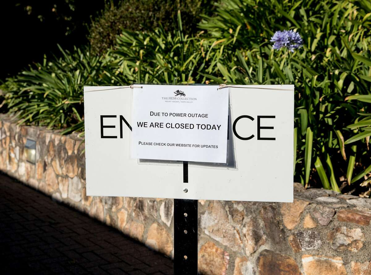 A sign informs customers of a closure at Hess Winery in Napa, Calif. Thursday, Oct. 10, 2019 due to a PG&E Public Safety Power Shutoffs across Northern California.