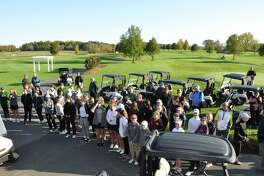About 50 girls participated in the first-ever Section 2 Girls Golf Sectional and State Qualifier at Fairways of Halfmoon on Oct. 12, 2019. The girls gathered before the start to hear from LPGA star Dottie Pepper of Saratoga Springs. (Joyce Bassett / Times Union)
