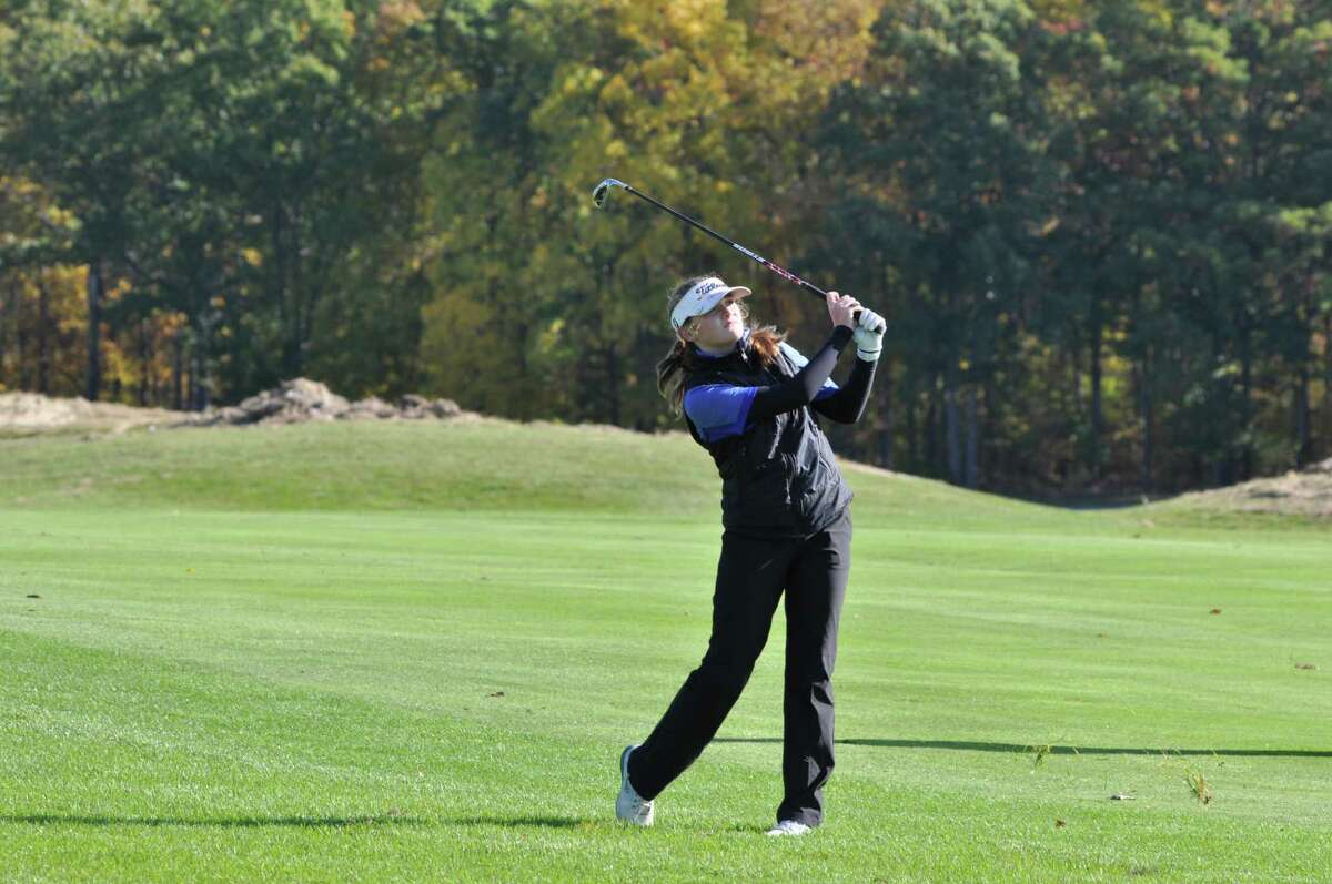 Allison Hathaway of Hoosick Falls hits an approach shot during the Section 2 Girls Golf Sectional and State Qualifier on Oct. 11, 2019, at the Fairways of Halfmoon (Joyce Bassett / Times Union)