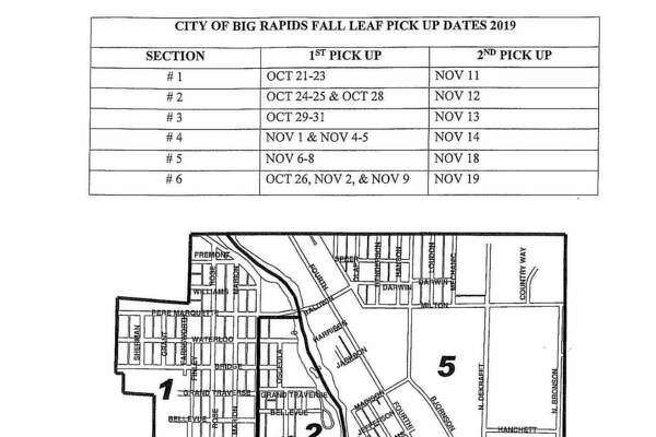 Featured is a map of six sections the city will be divided into, as well as the dates city crew members will be arriving to them. From here, crew members will make at least two complete trips around the city and, weather permitting, more if needed. (Courtesy photo)