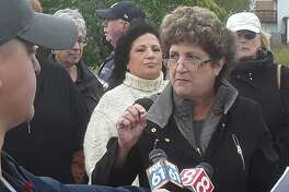 West Haven Republican mayoral candidate Michele Gregorio, backed by supporters, addresses the press Friday about lack of progress and transparency regarding The Haven, a proposed high-end shopping outlet.