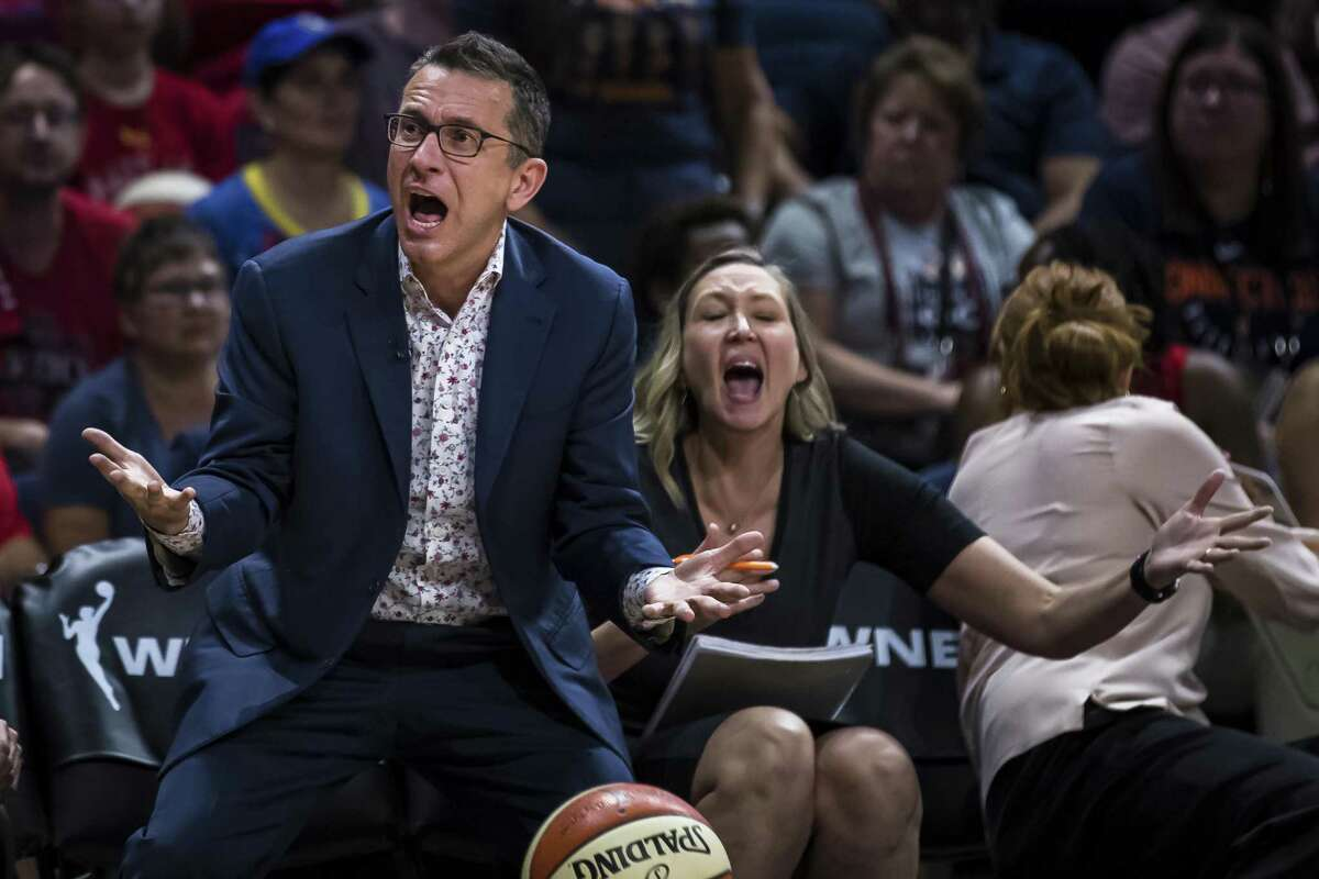 WASHINGTON, DC - OCTOBER 01: Head coach Curt Miller of the Connecticut Sun reacts to a call during the second half of Game Two of the 2019 WNBA finals against the Washington Mystics at St Elizabeths East Entertainment & Sports Arena on October 1, 2019 in Washington, DC. NOTE TO USER: User expressly acknowledges and agrees that, by downloading and or using this photograph, User is consenting to the terms and conditions of the Getty Images License Agreement. (Photo by Scott Taetsch/Getty Images)