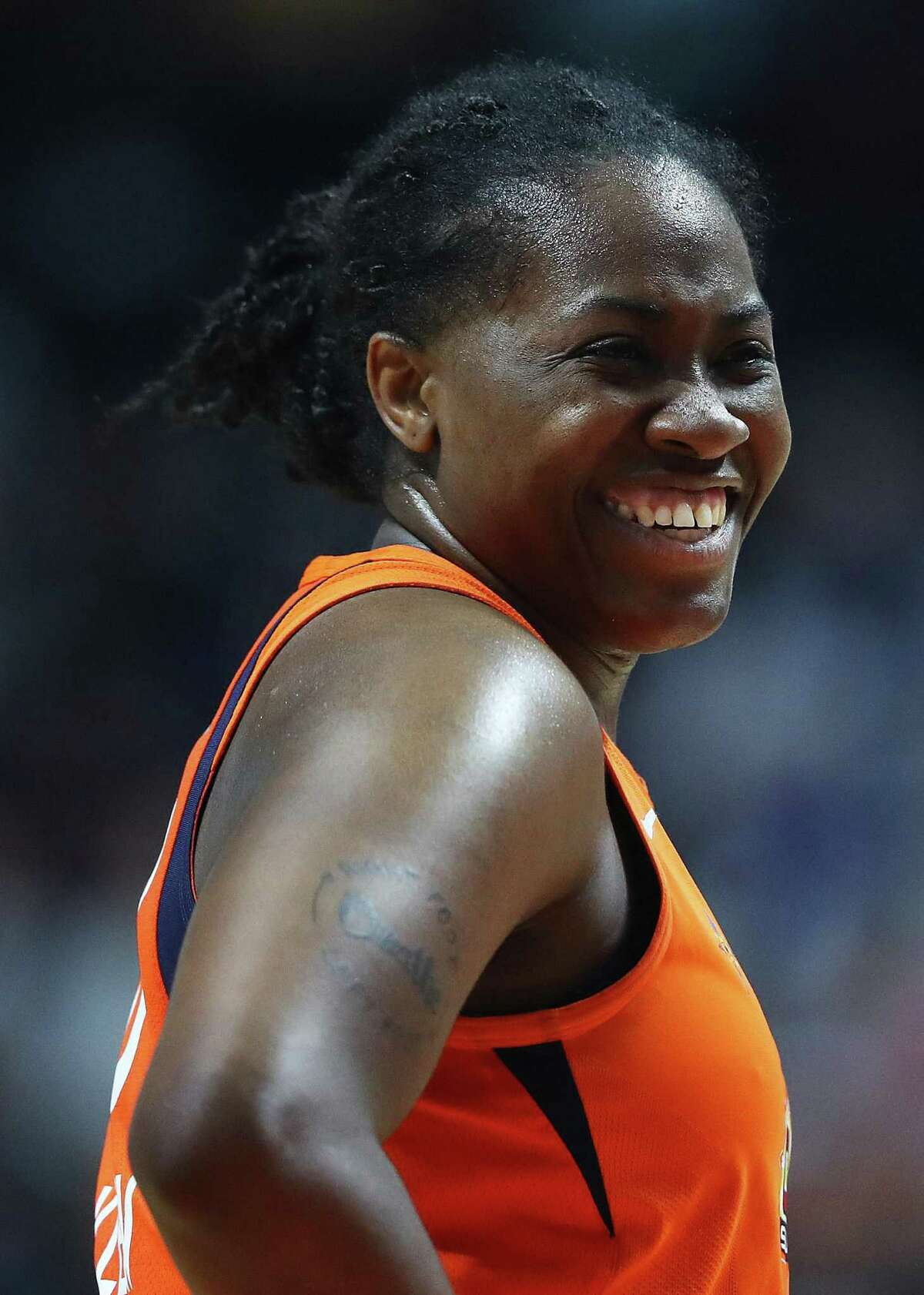 UNCASVILLE, CONNECTICUT - OCTOBER 08: Shekinna Stricklen #40 of Connecticut Sun smiles during Game Four of the 2019 WNBA Finals between the Washington Mystics and Connecticut Sun at Mohegan Sun Arena on October 08, 2019 in Uncasville, Connecticut. (Photo by Maddie Meyer/Getty Images)