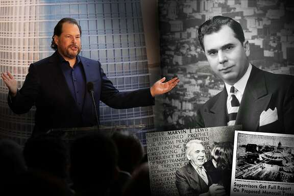 Two San Francisco skylines: Marc Benioff speaks in front of an image of the new Salesforce Tower in 2017; A Chronicle file photo of Marvin Lewis after he was sworn in as a San Francisco Supervisor in 1945. This is a composite for a web only Hero image.
