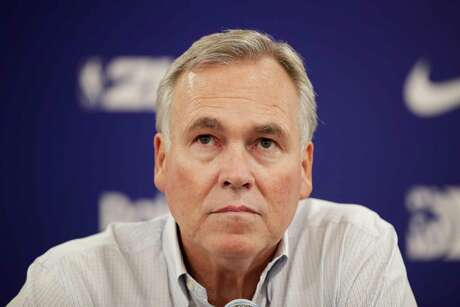 Houston Rockets head coach Mike D'Antoni listens to questions during a news conference after the team's NBA preseason basketball game against the Toronto Raptors Tuesday, Oct. 8, 2019, in Saitama, near Tokyo.