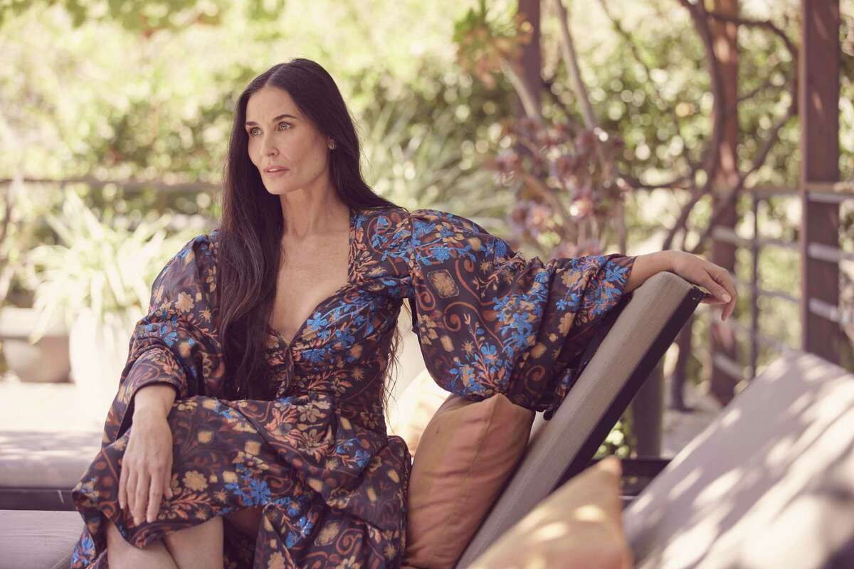 """Actress Demi Moore, whose new memoir is titled """"Inside Out,"""" in Beverly Hills, Calif., on Aug. 20, 2019. The book is a candid personal narrative in which Moore fills in not only the details surrounding the most visible parts of her history but the portions of her life that she once fought to protect. (Ramona Rosales/The New York Times)"""