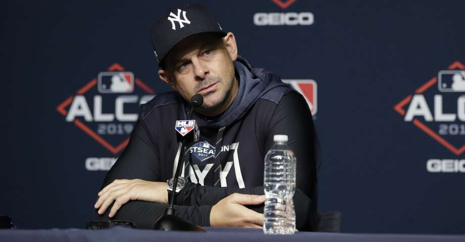 New York Yankees manager Aaron Boone listens to a question during a news conference at Yankee Stadium in New York, Thursday, Oct. 10, 2019. The Yankees will play the winner of tonight's Tampa Bay Rays at Houston Astros American League Division Series game in Game 1 of the American League Championship Series on Saturday, Oct. 12 in New York.(AP Photo/Frank Franklin II) Photo: Frank Franklin II/Associated Press