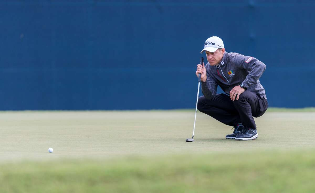 Peter Malnati lines up his putt on the 17th green during the Houston Open at the Golf Club of Houston in Humble Texas on Friday, October 11, 2019.