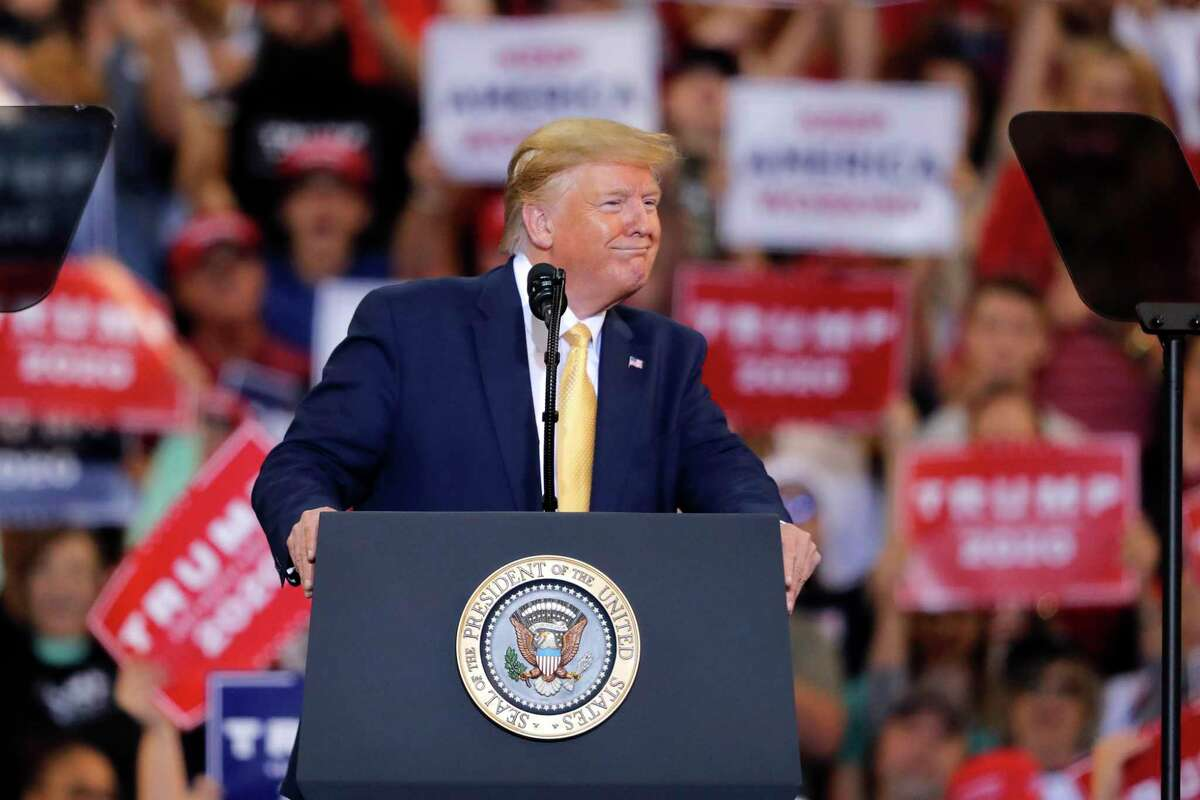 President Donald Trump speaks at a campaign rally in Lake Charles, La., Friday, Oct. 11, 2019.
