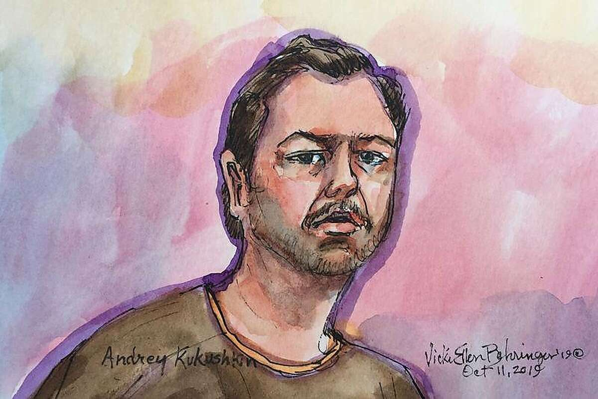 Andrey Kukushkin, one of four people indicted in New York on charges of violating campaign finance law, is seen in a courtroom sketch as he appears in San Francisco Federal Court in San Francisco.