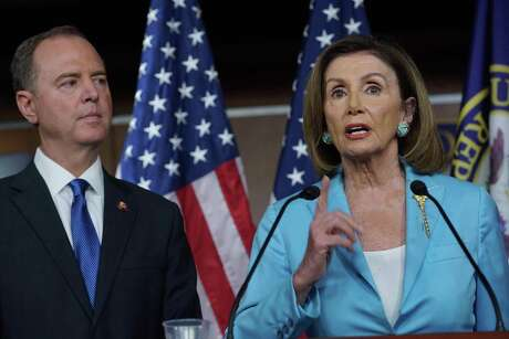 House Speaker Nancy Pelosi (D-San Francisco) and Rep. Adam Schiff (D-Burbank) hold a press conference on Oct. 2, 2019 on the impeachment inquiry into President Trump.