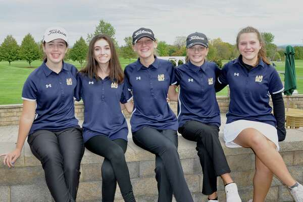 The Albany Academy for Girls golf team won the team championship at the first-ever Section 2 Girls Golf Sectional and State Qualifier at Fairways of Halfmoon on Oct. 11, 2019. Team members are, from left, Samantha Von Rohr, Nicole Criscone, Jillian Rawson, Kennedy Swedick and Shea White. (Joyce Bassett / Times Union)