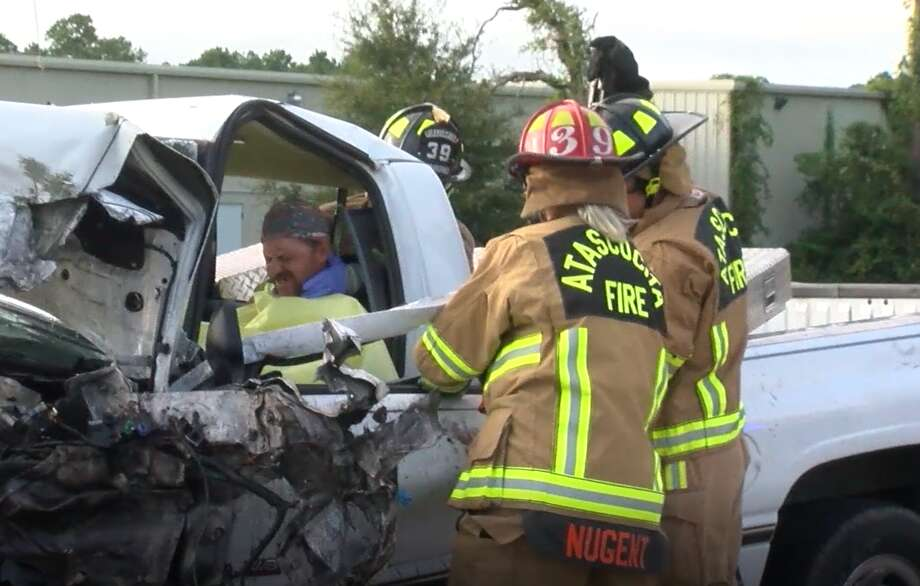 A Dodge 2500 pickup collided head-on with a heavy-duty truck about 5 p.m. Friday in the 4700 block of Atascocita Road, according to the Harris County Sheriff's Office. Photo: OnScene.TV