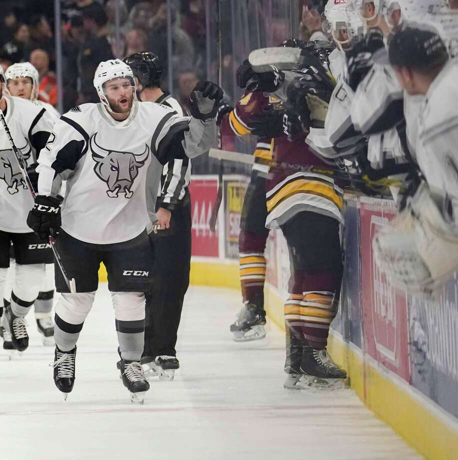 San Antonio Rampage winger Nathan Walker celebrates a goal during a game against the Chicago Wolves on Friday at the AT&T Center in San Antonio. Photo: /