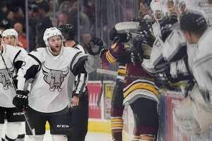 San Antonio Rampage winger Nathan Walker celebrates a goal during a game against the Chicago Wolves on Friday at the AT&T Center in San Antonio.