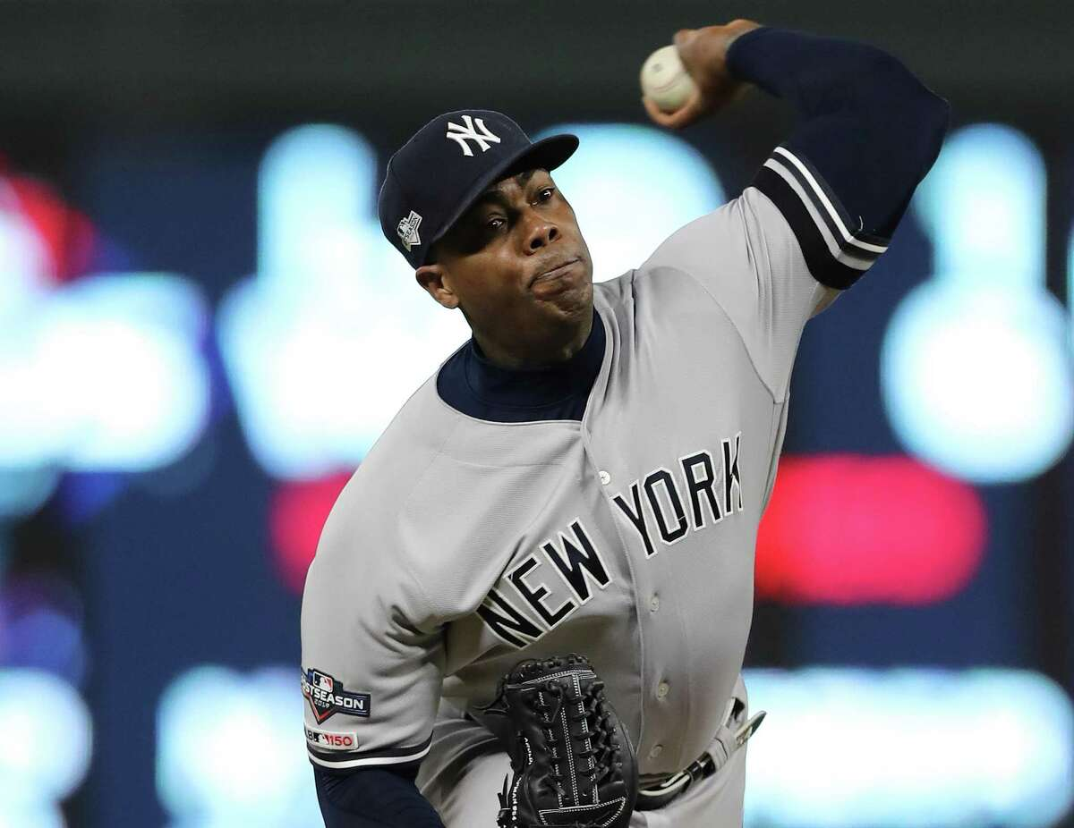 Yankees closer Aroldis Chapman converted 37 of 42 save chances this year, posting a 2.21 ERA and averaging 13.4 strikeouts per nine innings.