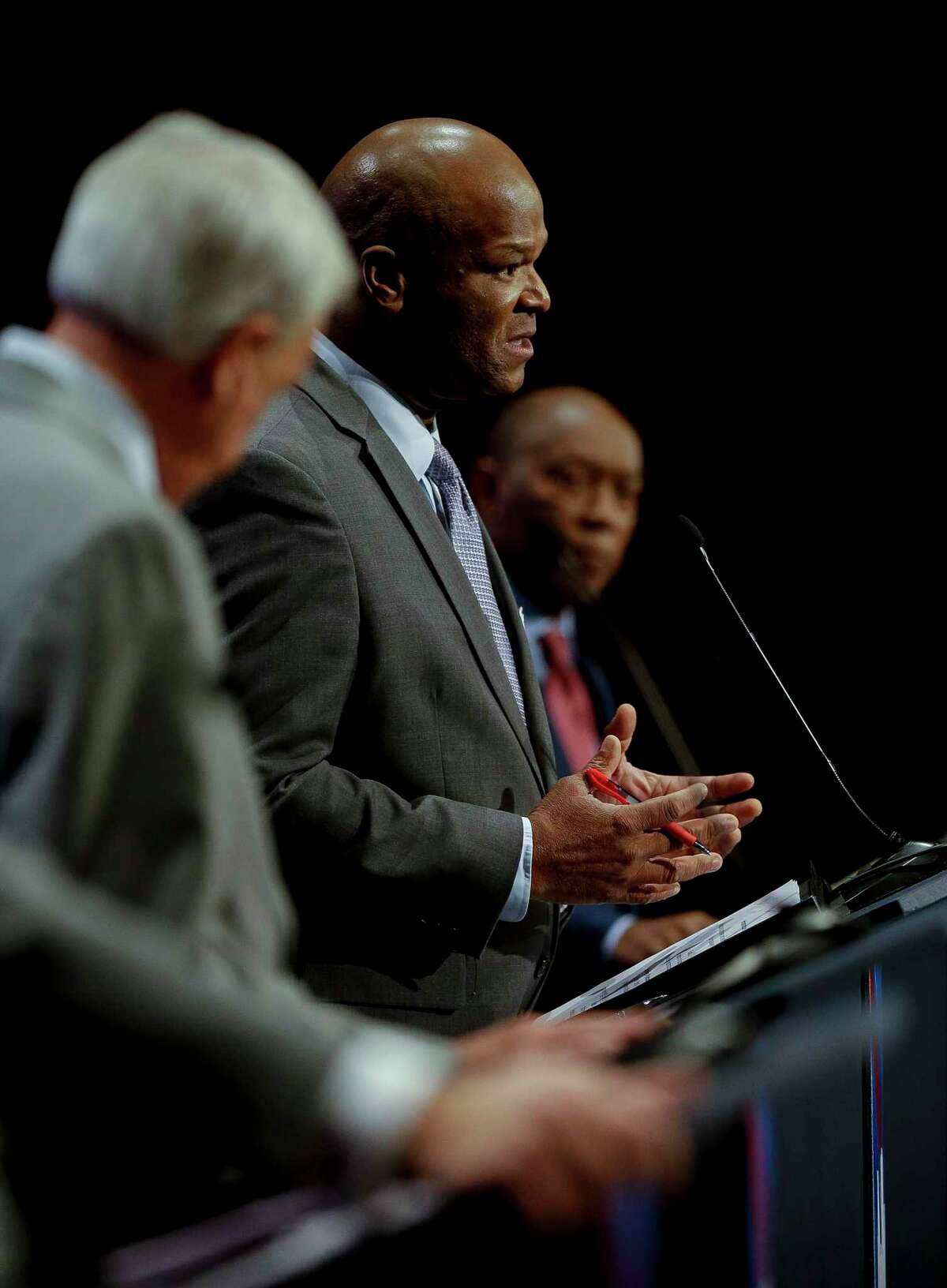 Dwight Boykins answers a question during the mayoral debate at the Morris Cultural Arts Center at Houston Baptist University Friday, Oct. 11, 2019, in Houston.