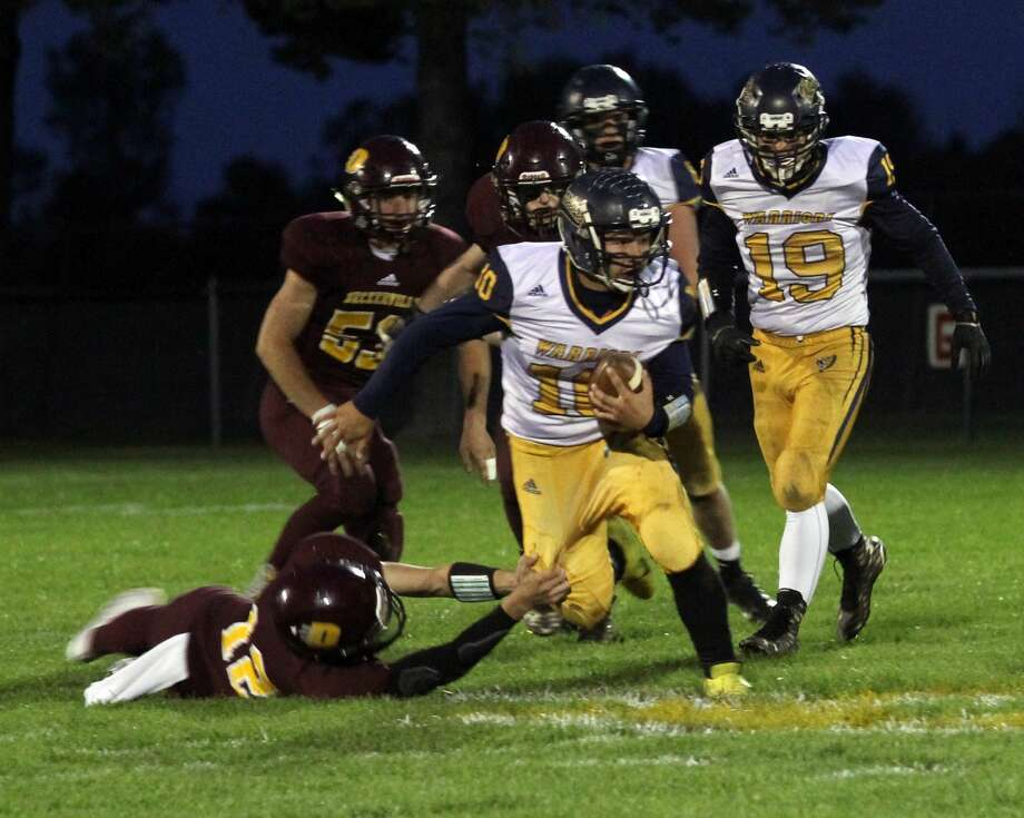 The Deckerville Eagles improved to 7-0 on the 2019 season with a hard-fought 18-0 victory over the visiting North Huron Warriors on Friday night. Photo: Mark Birdsall/Huron Daily Tribune