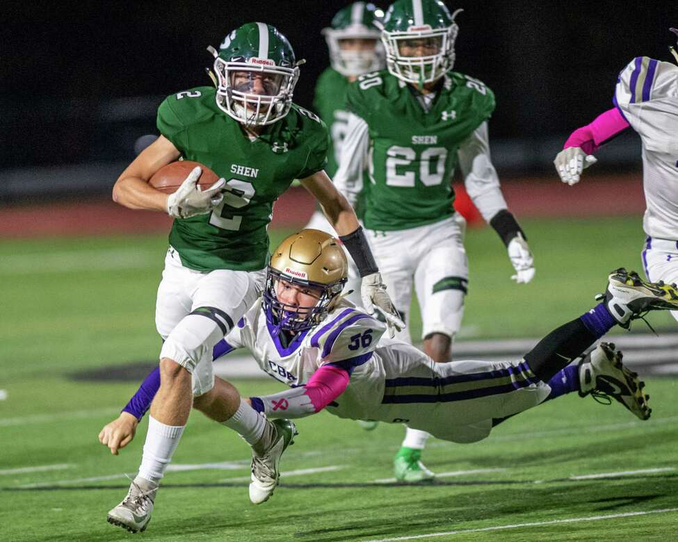 Shenendehowa receiver Kyle Acker picks up yardage during a game against CBA at Shenendehowa High School on Friday, Oct. 11, 2019 (Jim Franco/Special to the Times Union.)