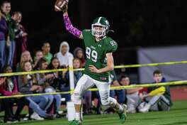 Shenendehowa defensive back Brandon Fahr celebrates after retuning an interception for a touchdown against CBA during a game at Shenendehowa High School on Friday, Oct. 11, 2019 (Jim Franco/Special to the Times Union.)