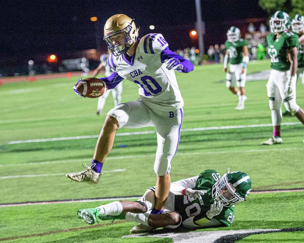 CBA receiver Dylan Jones scores a touchdown against Shenendehowa during a game at Shenendehowa High School on Friday, Oct. 11, 2019 (Jim Franco/Special to the Times Union.)