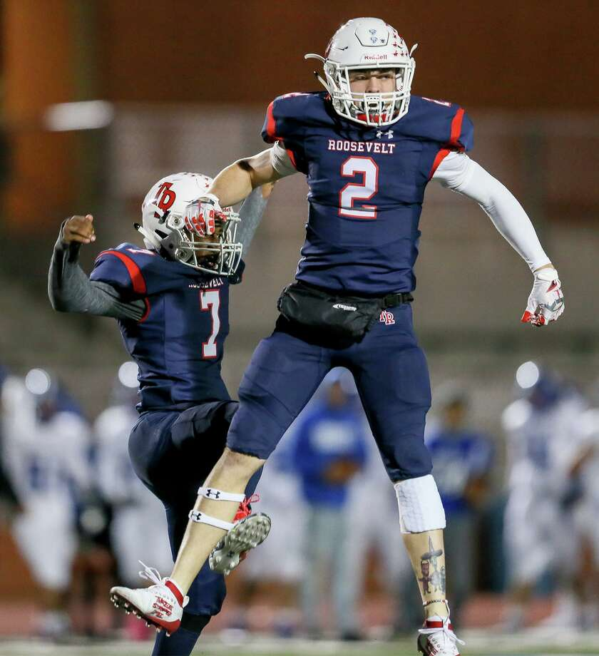 Roosevelt's Landon Foster, right, and Jayden Witter celebrate after breaking up a pass in the first half in their District 27-6A high school football game with South San at Heroes Stadium on Friday, Oct. 11, 2019. Photo: Marvin Pfeiffer, Staff Photographer / Express-News 2019