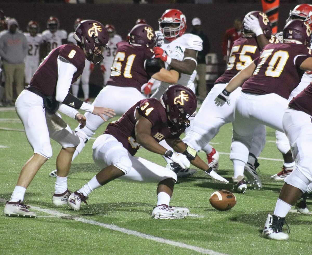 Deer Park running back Dylan Madden (34) goes after this first-quarter fumble Friday night. Even though he recovered it, it came on third down, resulting in the team's second punt of the night.