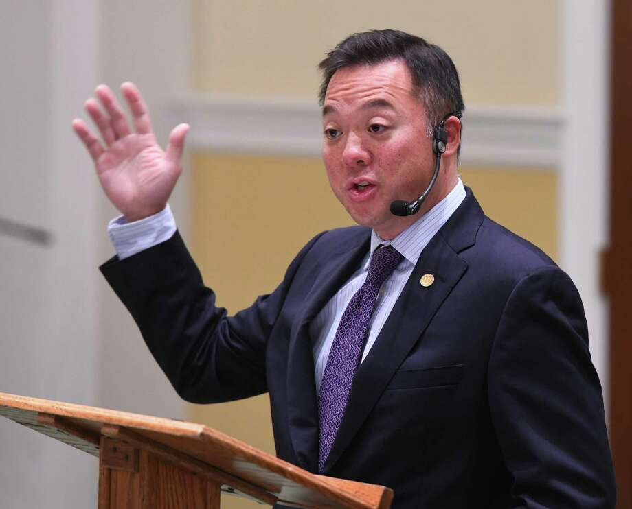 """Connecticut Attorney General William Tong presents """"Enforcement Actions Against Generic Drug Manufacturers and the Opioid Crisis"""" during the Retired Men's Association's weekly speaker series at First Presbyterian Church in Greenwich, Conn. Wednesday, Oct. 9, 2019. Photo: Tyler Sizemore / Hearst Connecticut Media / Greenwich Time"""