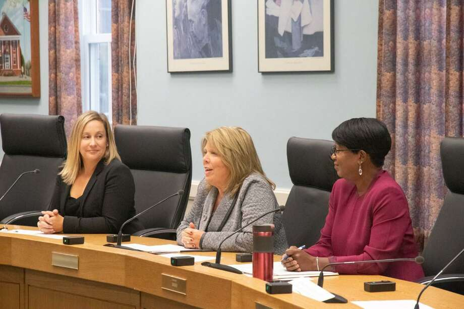 From left, state Rep.  Liz Linehan, state Sen. Mary Abrams and Miriam Delphine Rittmon at an anti-vaping forum at Cheshire Town Hall. Photo: Contributed Photo