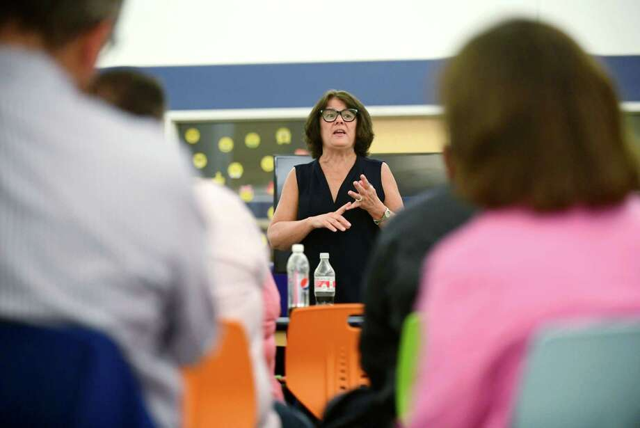 """Lisa Brinton hosts her """"Meet Me in the Middle"""" campaign event and community conversation Thursday, October 10, 2019, at Brien McMahon High School in Norwalk, Conn.. Photo: Erik Trautmann / Hearst Connecticut Media / Norwalk Hour"""