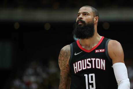 SAITAMA, JAPAN - OCTOBER 10: Tyson Chandler #19 of Houston Rockets looks on during the preseason game between Toronto Raptors and Houston Rockets at Saitama Super Arena on October 10, 2019 in Saitama, Japan. (Photo by Takashi Aoyama/Getty Images)