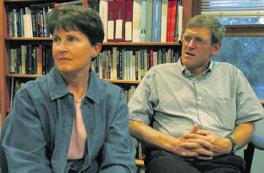 A Times Union file photo shows Libby and Tom Little in 2001 before they spoke at a church in Brunswick. Members of the First Presbyterian Church in Schenectady, which supports the Littles' efforts as part of a mission in Afghanistan, believe Tom Little was among those killed in a robbery in Afghanistan.