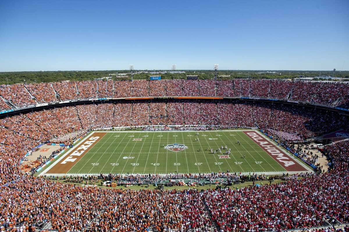 Texas and Oklahoma fans fill the Cotton Bowl during the first half of the 2019 game in Dallas. This year's game is scheduled for Oct. 10, but there will be no State Fair of Texas to go with it.