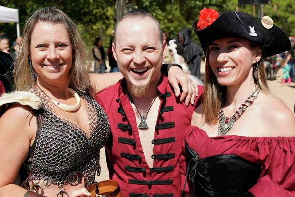 Spectators and performers are shown at the Texas Renaissance Festival Saturday, October 12, 2019, in Todd Mission.